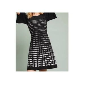 Anthropologie Akemi Kin black white knit dress